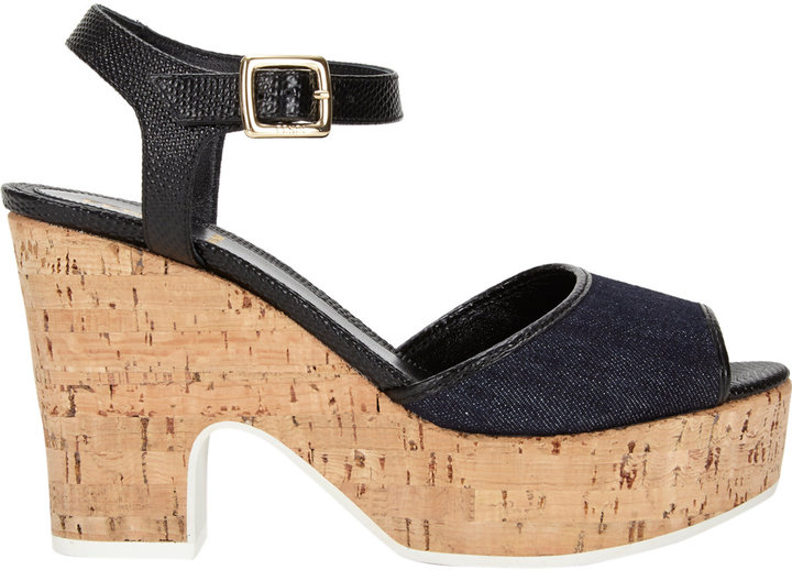 Fendi Cecilia Platform Wedge Sandals