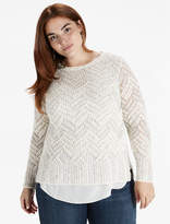 Lucky Brand Chevron Metallic Sweater