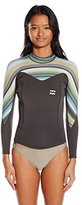 Billabong Women's 202 Synergy Back Zip Long Sleeve Wetsuit Swimsuit Rashguard