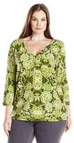 Caribbean Joe Women's Three Quarter Sleeve Printed Sweetheart Placket with Gold Buttons