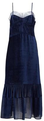 Fendi Tulle-trimmed Devore-velvet Dress - Blue