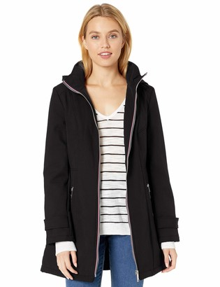 Tommy Hilfiger Women's Soft Shell Rain Jacket with Detachable Hood