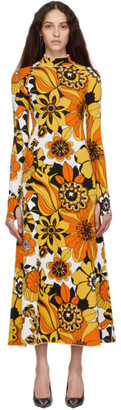 Kwaidan Editions Orange Floral Jacquard Turtleneck Dress