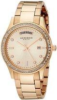 Akribos XXIV Women's AK691RG Impeccable Rose Gold-Tone Stainless Steel Crystal Bezel Bracelet Watch