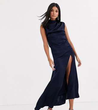 Asos Tall DESIGN Tall high neck washed satin midi with cowl back-Navy