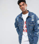 Granted Oversized Denim Jacket In Mid Blue With Distressing