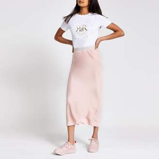 River Island Womens Light Pink bias cut midi skirt