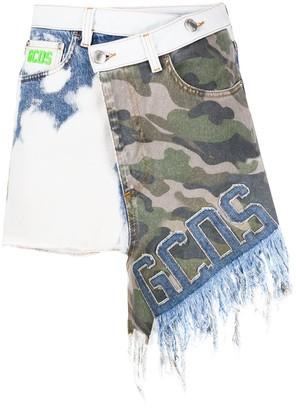 GCDS Camouflage-Print Asymmetric Skirt