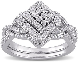 Miadora Sterling Silver 1/4ct TDW Diamond Vintage Clustered Split Shank Bridal Ring Set