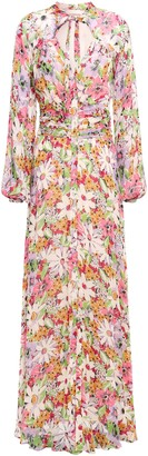 By Ti Mo Pussy-bow Floral-print Fil Coupe Maxi Dress
