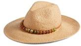 Hinge Women's Wrapped Bead Trim Straw Panama Hat - Brown