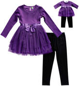 Dollie & Me Purple Ruffle Tunic Set & Doll Outfit - Girls