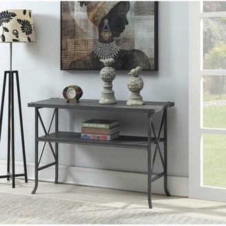 """Laurel Foundry Modern Farmhouse Justina 45.75"""" Console Table Table Top Color: Dark Walnut, Table Base Color: Slate Gray"""