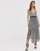 Asos Design DESIGN midi dress in mono geo with layered skirt