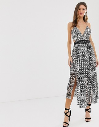 Asos Design DESIGN midi dress in mono geo with layered skirt