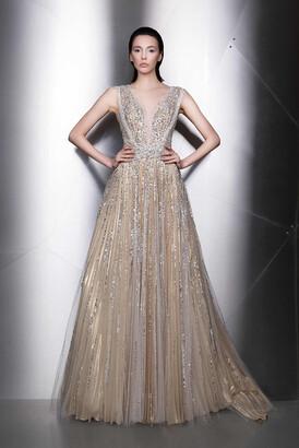 Ziad Nakad Plunging Neck Embellished Sleeveless Gown