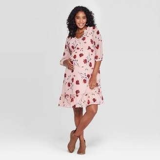 Ingrid & Isabel Isabel Maternity by Maternity Floral Print 3/4 Sleeve Woven Party Mini Dress - Isabel Maternity by Ingrid & IsabelTM Smoked Pink