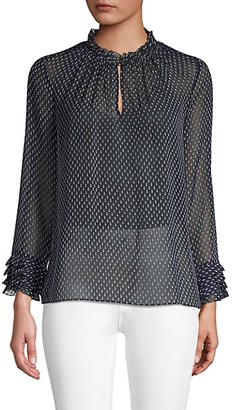 Rebecca Taylor Crinkle Chiffon Printed Blouse