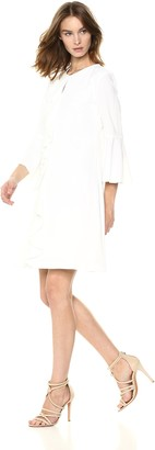 Gabby Skye Women's Bell Sleeve Round Neck Crepe A-line Dress