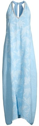 120% Lino Sleeveless Emebllished V-Neck Embossed Floral Print Maxi Dress