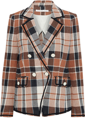 Veronica Beard Utah Double-breasted Checked Cotton And Flax-blend Blazer