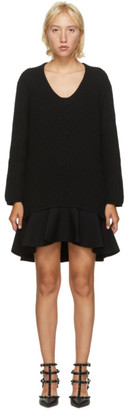 Valentino Black Wool Frill Dress