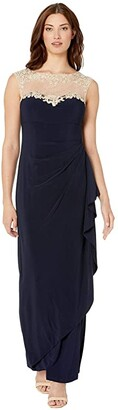Alex Evenings Long Sleeveless Side Ruched Dress with Embroidered Sweetheart Illusion Neckline (Navy/Nude) Women's Dress