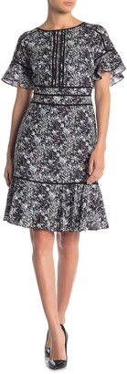 Focus By Shani Patterned Short Ruffle Sleeve Flounce Dress