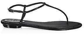 Rene Caovilla Women's Diana Crystal-Embellished Leather T-Strap Sandals