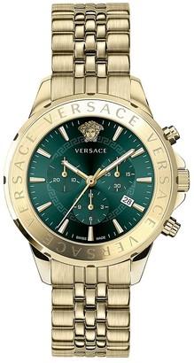 Versace Chrono Signature IP Gold Stainless Steel Bracelet Watch