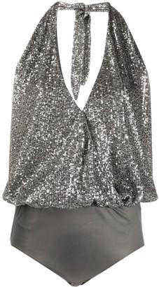 Just Cavalli Halterneck Embroidered Bodysuit