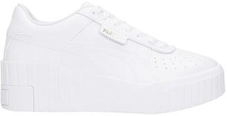 Puma Cali Wedge Sneakers In White Leather