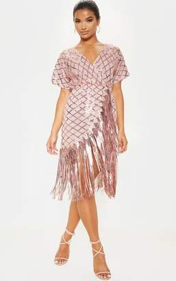 PrettyLittleThing Dusty Pink Short Sleeve Sequin Tassel Shift Dress