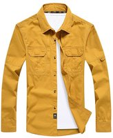 OCHENTA Men's Outdoor Sportswear Long Sleeve Button Down Shirt