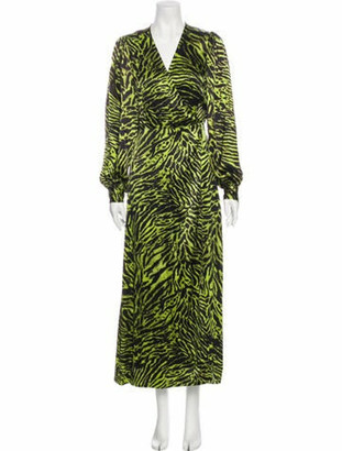 Ganni Silk Long Dress Green