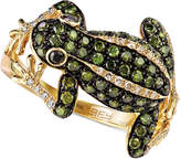 Effy DiaVerde by White (1/8 ct. t.w.) and Green (3/4 ct. t.w.) Diamond Frog Ring in 14k Gold