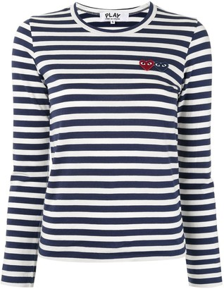 Comme des Garcons Striped-Print Branded Top