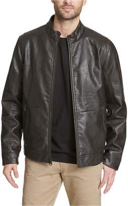 Dockers Men Vintage Faux Leather Fashion Racer Jacket
