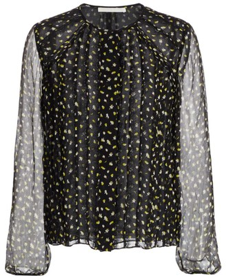Jason Wu Collection Fluttering Floral Crinkle Chiffon Silk Blouse