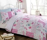 Art Dream Patchwork Duvet Cover Quilt Bedding Set, Pink, Double (Flowers & Butterflies)