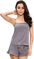 GYS Women's Lingerie Pajama Set Adjustable Satin Strap Blouse with Pj Shorts (XXL=US, )