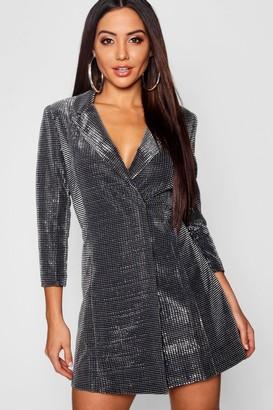 boohoo Metallic Blazer Dress