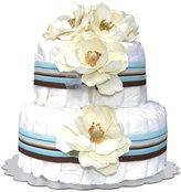 Bella Sprouts Two-Tier Diaper Cake - Blue Striped Magnolias