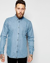 Dr Denim Mick Regular Denim Shirt Light Wash Blue