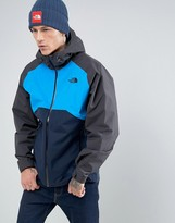 The North Face Stratos Waterproof Hooded Jacket In Tri Colour Navy/grey