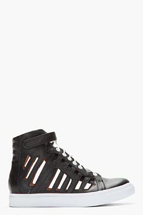 Jeffrey Campbell Black leather Trap cage sneakers