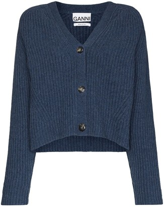 Ganni Ribbed-Knit Wool Cardigan