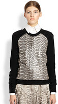 Jason Wu Snakeskin Baseball Sweater