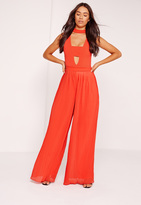Missguided Pleated Wide Leg Pants Orange