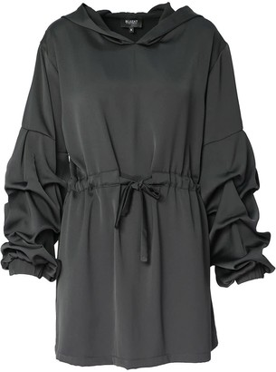 Bluzat Hooded Mini Dress With Drawstring Waist